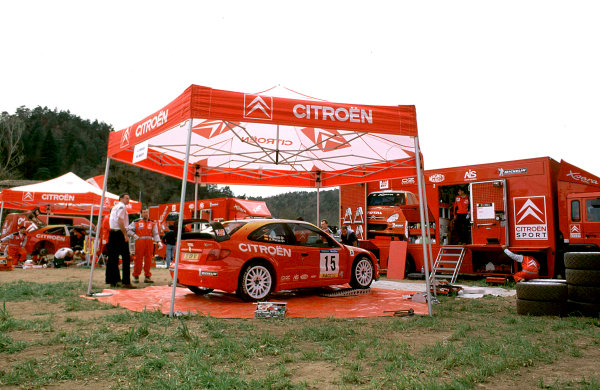 2001 World Rally Championship. Catalunya Rally, Spain. 22nd - 25th March 2001. Rd 4. J. Puras / M. Marti, Citroen Xsara T4, retired in the Service area. World Copyright: McKlein / LAT Photographic. Ref: A19