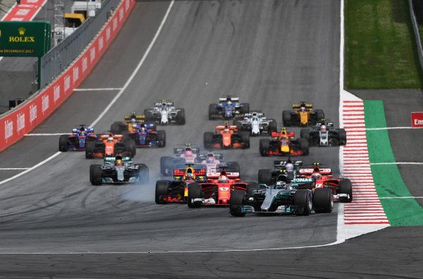 Valtteri Bottas (FIN) Mercedes-Benz F1 W08 Hybrid leads at the start of the race at Formula One World Championship, Rd9, Austrian Grand Prix, Race, Spielberg, Austria, Sunday 9 July 2017. BEST IMAGE