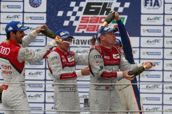 2014 World Endurance Championship, Interlagos, Brazil. 28th - 30th November 2014. LMP1 Podium. World Copyright: Ebrey / LAT Photographic.