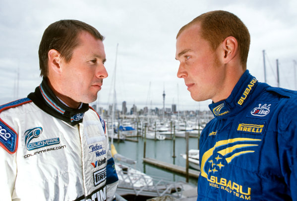 2001 World Rally Championship. New Zealand Rally, New Zealand. 21-23 September 2001. Colin McRae and Richard Burns, portrait.  World Copyright: McKlein/LAT Photographic. Ref:  Colour Transparency.