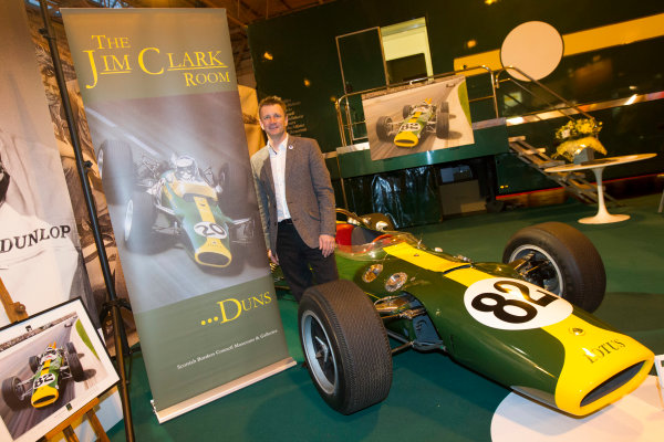 Autosport International Exhibition. National Exhibition Centre, Birmingham, UK. Friday 9 January 2015. Allan McNish at the Classic Team Lotus stand. World Copyright: Edd Hartley/Jakob Ebrey/LAT Photographic. ref: Digital Image JE2_2229