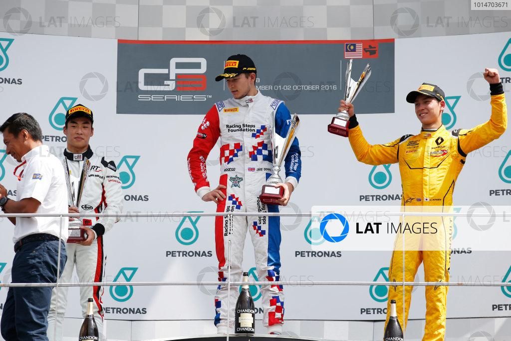 Jake Dennis (GBR, Arden International) Nirei Fukuzumi (JPN, ART Grand Prix) and Jack Aitken (GBR, Arden International)  2016 GP3 Series Round 8 Sepang International Circuit, Sepang, Malaysia. Sunday 2 October 2016  Photo: Sam Bloxham/GP3 Series Media Service ref: Digital Image _SLA4828