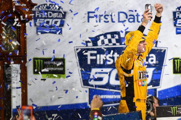Monster Energy NASCAR Cup Series First Data 500 Martinsville Speedway, Martinsville VA USA Sunday 29 October 2017 Kyle Busch, Joe Gibbs Racing, M&M's Halloween Toyota Camry, celebrates in victory lane. World Copyright: John K Harrelson/LAT Images