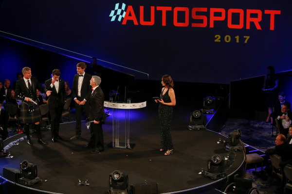2017 Autosport Awards Grosvenor House Hotel, Park Lane, London. Sunday 3 December 2017. Derek Warwick receives an award. World Copyright: Zak Mauger/LAT Images Ref: Digital Image _l5r8189