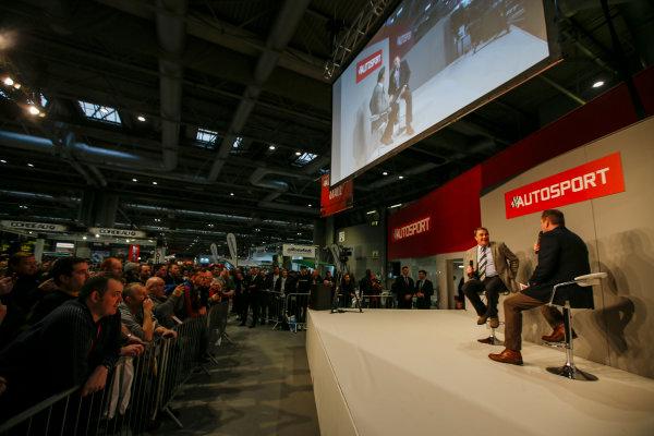 Autosport International Exhibition. National Exhibition Centre, Birmingham, UK. Sunday 14th January 2018. Nigel Mansell talks to Henry Hope-Frost on the Autosport Stage. .World Copyright: Joe Portlock/LAT Images Ref: _L5R0527