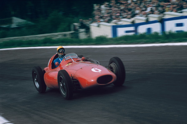 Spa-Francorchamps, Belgium. 3-5 June 1955. Paul Frere, Ferrari 555 Supersqualo, 4th position. Ref: 55BEL02. World copyright - LAT Photographic