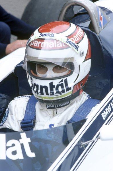 1982 Dutch Grand Prix.Zandvoort, Holland. 1-3 July 1982.Nelson Piquet (Brabham BT50-BMW), 2nd position. Helmet, portrait.World Copyright: LAT PhotographicRef: 35mm transparency 82HOL37