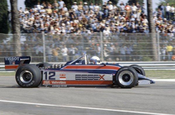 1980 Italian Grand Prix.Imola, Italy. 12-14 September 1980.Elio de Angelis (Lotus 81-Ford Cosworth), 4th position.World Copyright: LAT PhotographicRef: 35mm transparency 80ITA19