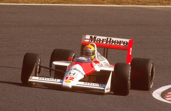 Suzuka, Japan.28-30 October 1988.Ayrton Senna (McLaren MP4/4 Honda) 1st position.Ref-88 JAP 13.World Copyright - LAT Photographic