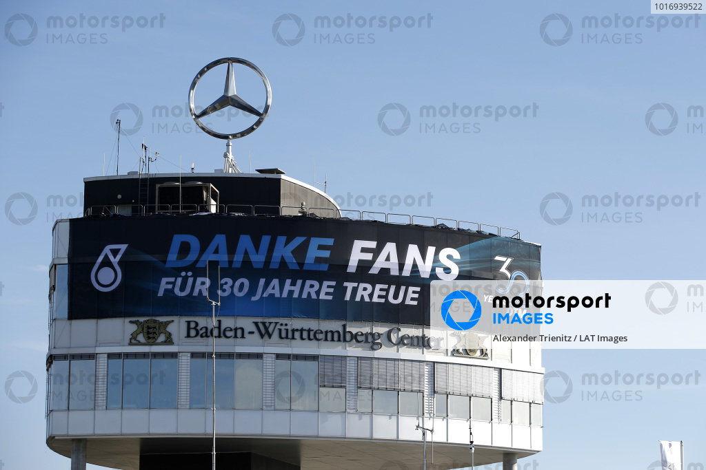 Mercedes banner on the Baden-Würtemberg Center.