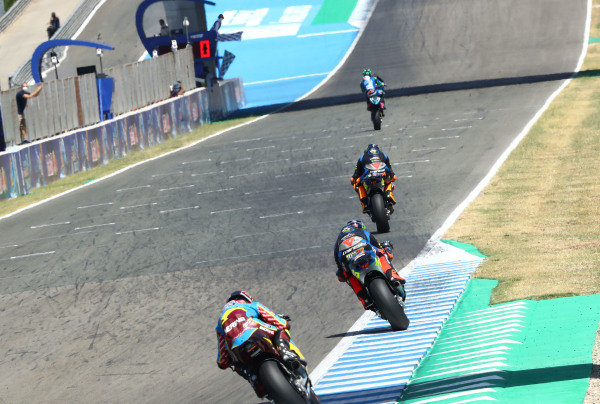 Enea Bastianini, Italtrans Racing Team, wins, Sam Lowes, Marc VDS Racing takes fourth.