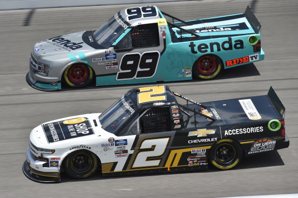 #2: Sheldon Creed, GMS Racing, Chevy Accessories Chevrolet Silverado, #99: Ben Rhodes, ThorSport Racing, Tenda Heal Ford F-150
