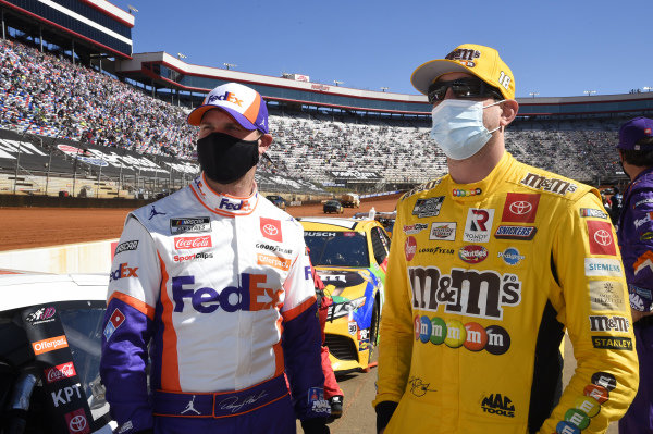 #18: Kyle Busch, Joe Gibbs Racing, Toyota Camry M&M's Messages, #11: Denny Hamlin, Joe Gibbs Racing, Toyota Camry FedEx Freight