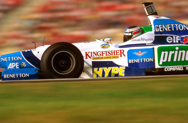 Hockenheim, German.26-28 July 1996.Gerhard Berger (Benetton B196 Renault) failed to finish when his engine blew 3 laps from the end whilst leading.Ref-96 GER 18.World Copyright - LAT Photographic