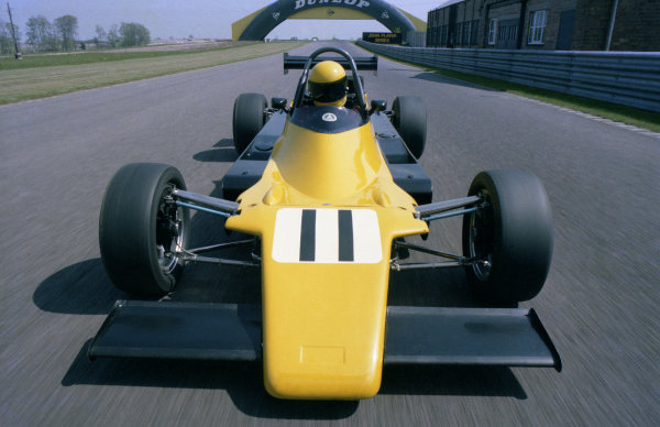 A promotional shot for Ayrton Senna (BRA)in the Rushen Green Racing Van Diemen RF82. British Formula Ford 2000 Championship, Donington Park, England, 4 April 1982.