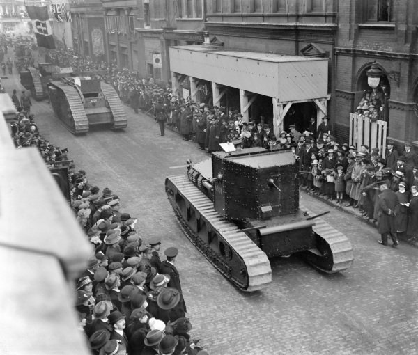 Tanks drive down Tudor Street, London, during the Lord Mayor's Show.
