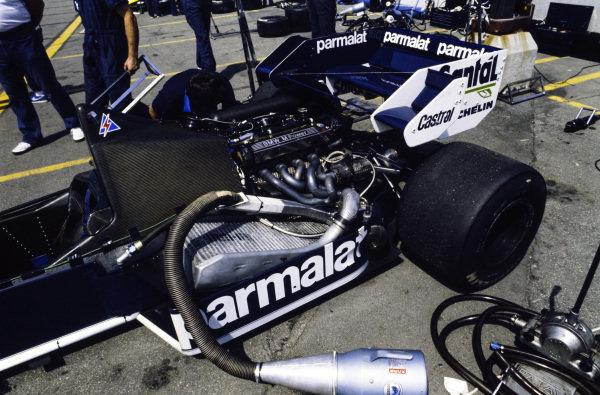 Engine detail on a Brabham BT53 BMW.
