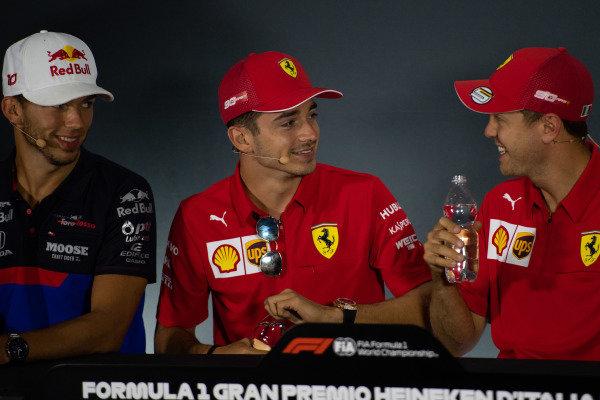 Pierre Gasly, Toro Rosso, Charles Leclerc, Ferrari and Sebastian Vettel, Ferrari in the Press Conference