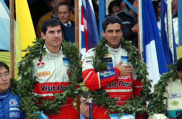 World Rally Championship, Rally of Argentina, May 16-19, 2002.Ramon Ferreyros on the podium.Photo: Ralph Hardwick/LAT