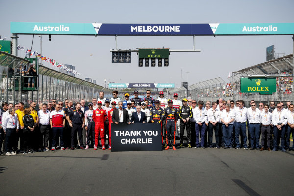 Official drivers start of year photoshoot with a Thank you Charlie sign in memory of Charlie Whiting