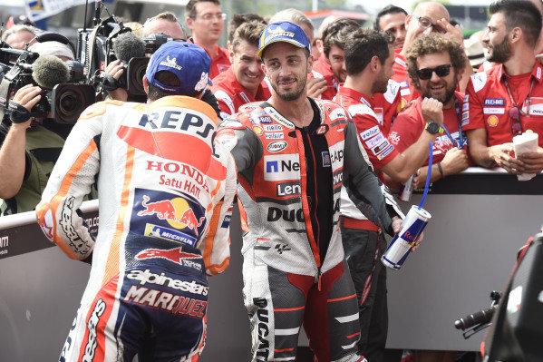 Race winner Andrea Dovizioso, Ducati Team, third place Marc Marquez, Repsol Honda Team.