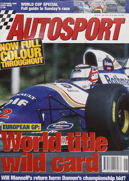 Cover of Autosport magazine, 13th October 1994