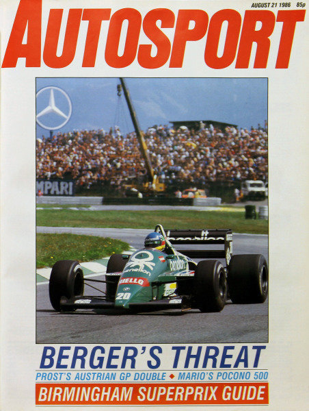 Cover of Autosport magazine, 21st August 1986