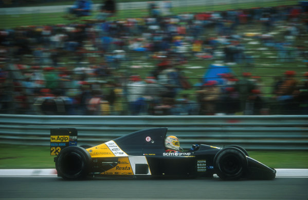 1991 San Marino Grand Prix.Imola, Italy.26-28 April 1991.Pierluigi Martini (Minardi M191 Ferrari) 4th position.Ref-91 SM 19.World Copyright - LAT Photographic