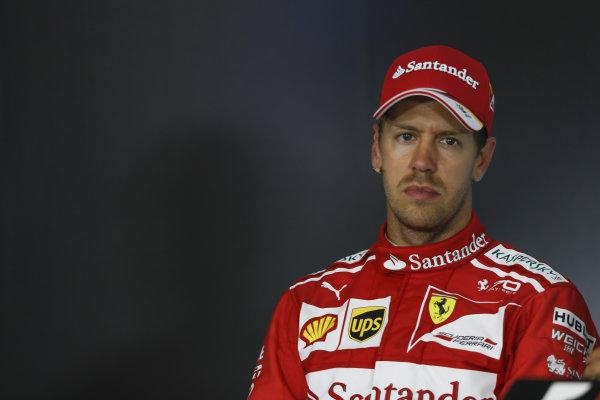 Sebastian Vettel (GER) Ferrari in the Press Conference at Formula One World Championship, Rd9, Austrian Grand Prix, Race, Spielberg, Austria, Sunday 9 July 2017.