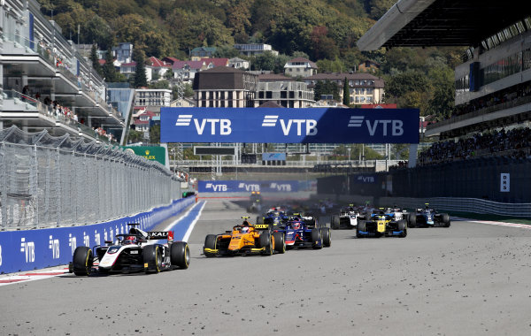 SOCHI AUTODROM, RUSSIAN FEDERATION - SEPTEMBER 29: Nikita Mazepin (RUS, ART Grand Prix), Jack Aitken (GBR, CAMPOS RACING) and Nobuharu Matsushita (JPN, CARLIN) lead the race during the Sochi at Sochi Autodrom on September 29, 2019 in Sochi Autodrom, Russian Federation. (Photo by Joe Portlock / LAT Images / FIA F2 Championship)