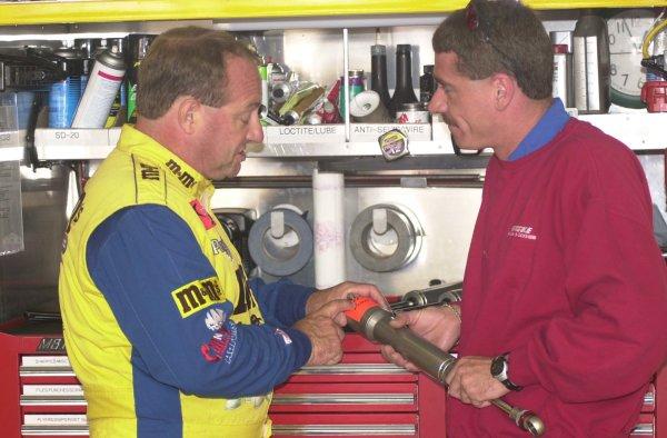 2001 NASCAR Sears Point June 23 24 2001 USAKen Schrader with shock tech Mike Larochelle,-Robert LeSieur 2001LAT Photographic