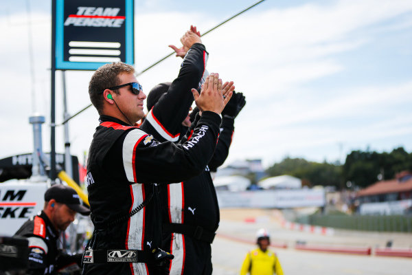 Josef Newgarden, Team Penske Chevrolet, crew members celebrate winning the NTT IndyCar championship