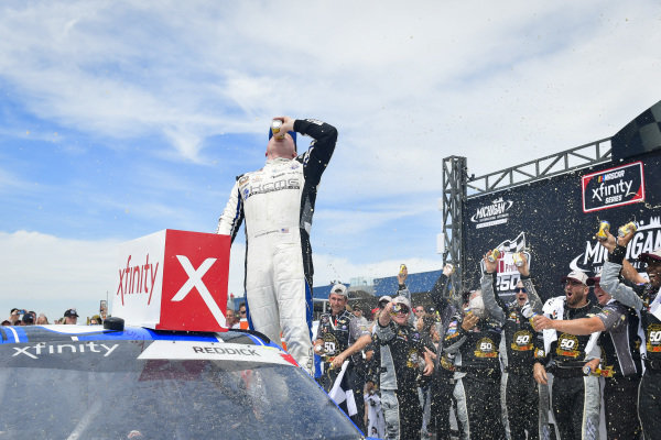 #2: Tyler Reddick, Richard Childress Racing, Chevrolet Camaro KC Motorgroup celebrates after winning