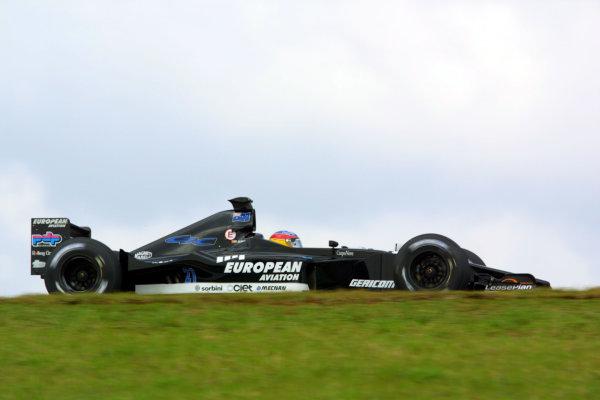 2001 Brazilian Grand Prix.Interlagos, Sao Paulo, Brazil. 30/3-1/4 2001.Fernando Alonso (Minardi PS01 European). World Copyright - LAT Photographicref: 8 9 MB Digital