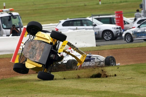 Ollie Millroy (GBR) Motaworld Racing crashes out of the race. Formula BMW Europe, Rd 3, Silverstone, England, 18-21 June 2009.