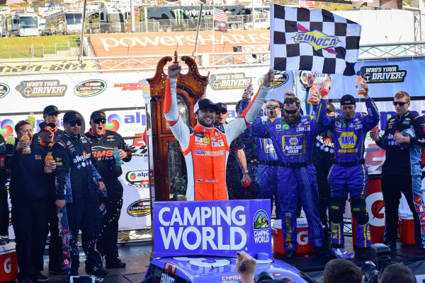 NASCAR Camping World Truck Series Alpha Energy Solutions 250 Martinsville Speedway, Martinsville, VA USA Saturday 1 April 2017 Chase Elliott celebrates in victory lane, Sunoco World Copyright: Logan Whitton/LAT Images ref: Digital Image 17MART1LW1831