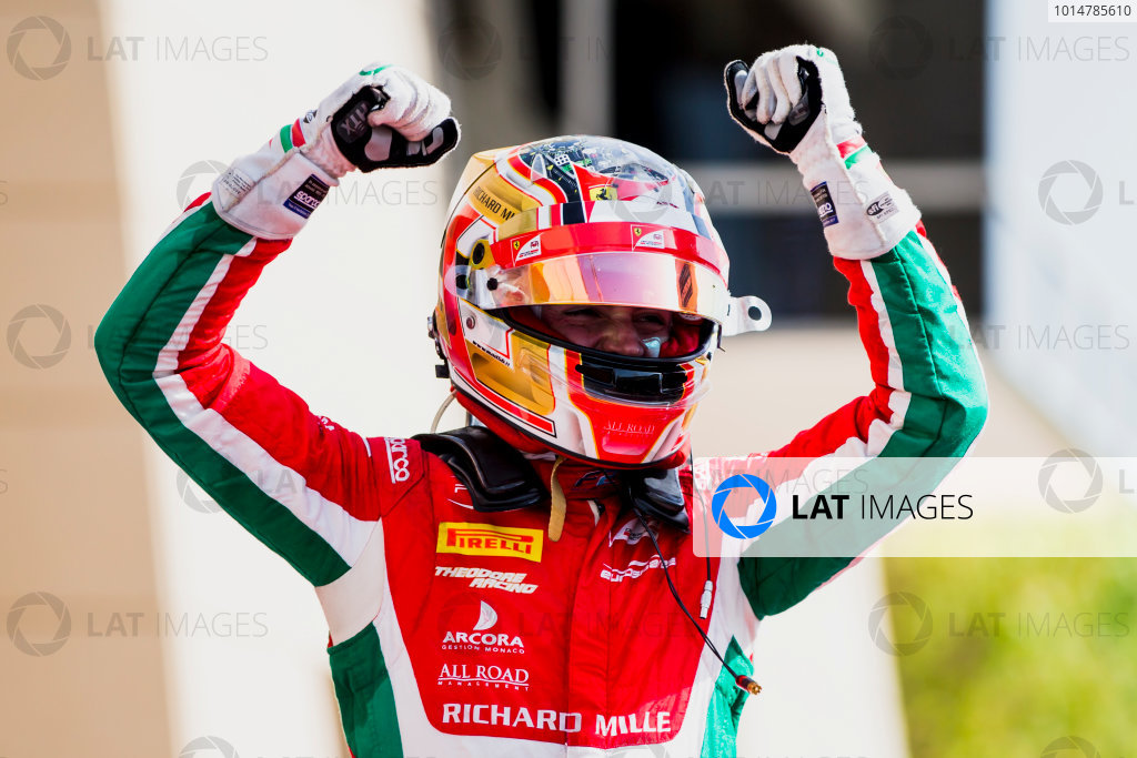 2017 FIA Formula 2 Round 1. Bahrain International Circuit, Sakhir, Bahrain.  Sunday 16 April 2017. Charles Leclerc (MCO, PREMA Racing)  Photo: Zak Mauger/FIA Formula 2. ref: Digital Image _X0W5110-2
