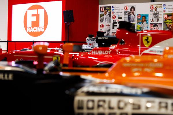 Autosport International Exhibition. National Exhibition Centre, Birmingham, UK. Thursday 11th January 2017. A McLaren, Ferrari and Renault on the F1 Racing Stand. World Copyright: Joe Portlock/LAT Images Ref: _U9I8307