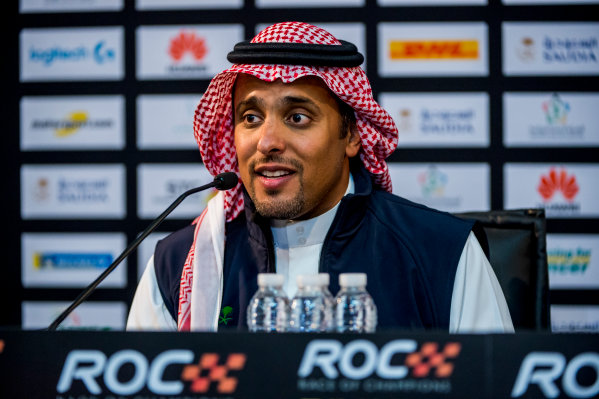 2018 Race Of Champions King Farhad Stadium, Riyadh, Abu Dhabi. Saturday 3 February 2018 Prince Khaled Al Faisal, President of the Motor Federation Of Saudi Arabia talks in the post event press conference. Copyright Free FOR EDITORIAL USE ONLY. Mandatory Credit: 'Race of Champions'