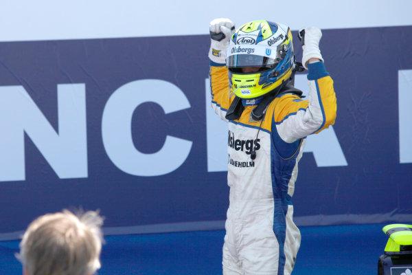 Valencia Spain. 27th June. Sunday Race. Marcus Ericsson (SWE, Super Nova Racing) celebrates winning the race. Portrait. Photo: Andrew Ferraro/GP2 Media Service. Ref: _O9T4576 jpg