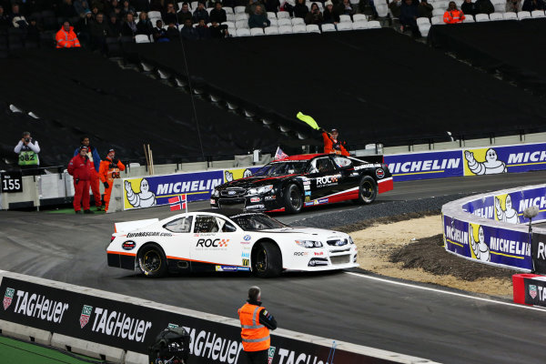 2015 Race Of Champions - Nations Cup Olympic Stadium, London, UK Friday 20 November 2015 Petter Solberg (NOR) ahead of Ryan Hunter-Reay (USA) in the Euro Nascar Copyright Free FOR EDITORIAL USE ONLY. Mandatory Credit: 'IMP'