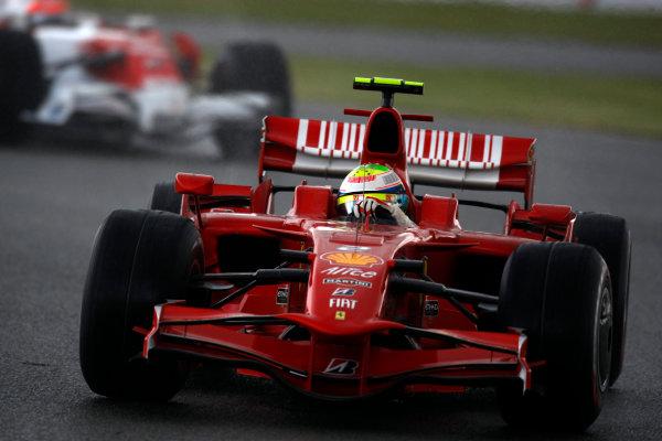 Silverstone, Northamptonshire, UK.6th July 2008.Felipe Massa, Ferrari F2008, 13th position, leads Timo Glock, Toyota TF108, 12th position. Action. World Copyright: Andrew Ferraro/LAT Photographic.ref: Digital Image _H0Y3428