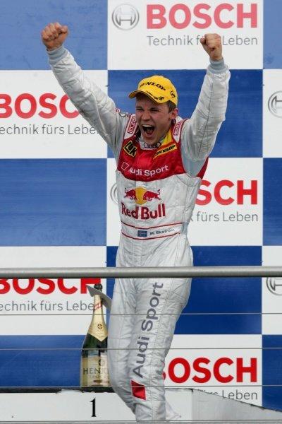 Matias Ekstrom (SWE) Audi Sport Team Abt Sportsline celebrates on the podium DTM, Rd 1, Hockenheim, Germany, 12-13 April 2008.