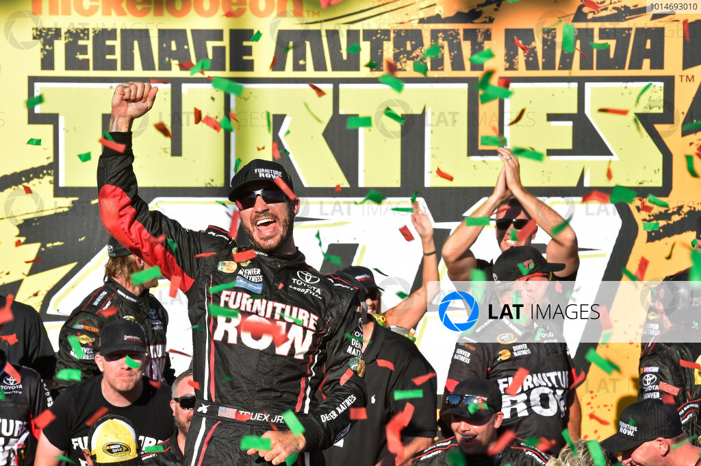16-18 September, 2016, Joliet, Illinois USA Martin Truex Jr, Furniture Row / Denver Mattress Toyota Camry celebrates his win ©2016, Lesley Miller LAT Photo USA