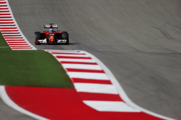 Fernando Alonso (ESP) Ferrari F14 T. Formula One World Championship, Rd17, United States Grand Prix, Practice, Austin, Texas, USA, Friday 31 October 2014.