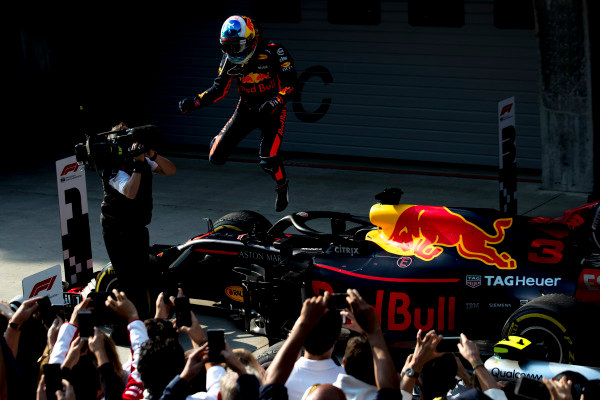 Daniel Ricciardo, Red Bull Racing, 1st position, celebrates on arrival in Parc Ferme.