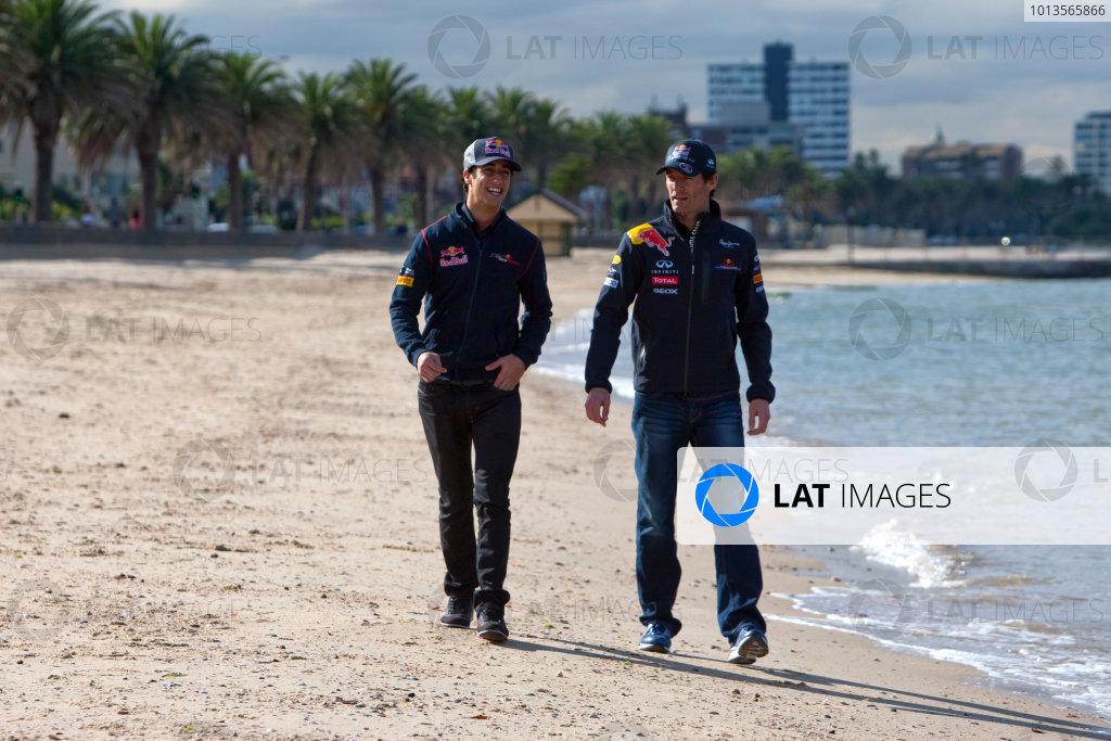 Albert Park, Melbourne, Australia23rd March 2011.Daniel Ricciardo, Red Bull Racing RB7 Renault and Mark Webber, Red Bull Racing RB7 Renault.World Copyright: Alastair Staley/LAT Photographicref: Digital Image _O9T8261
