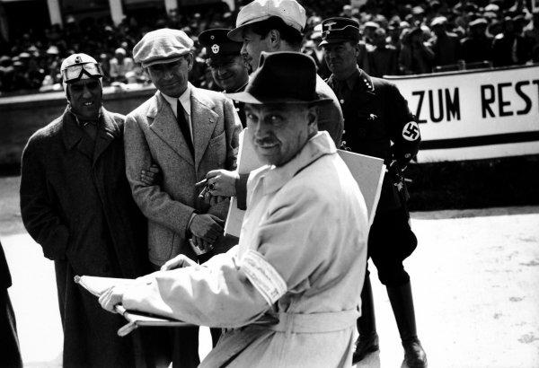 Nurburgring, Germany. 25 July 1937.  Tazio Nuvolari, Alfa Romeo 12C-36, 4th position.  Ref: RF37_GER09. World Copyright: Robert Fellowes/LAT Photographic.