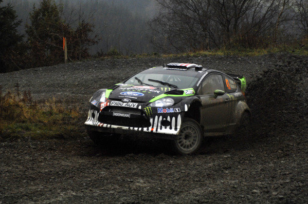 Ken Block (USA) Ford Fiesta RS WRC on stage 10. FIA World Rally Championship, Rd13, Wales Rally GB, Cardiff, Wales, Day Two, 11 November 2011.