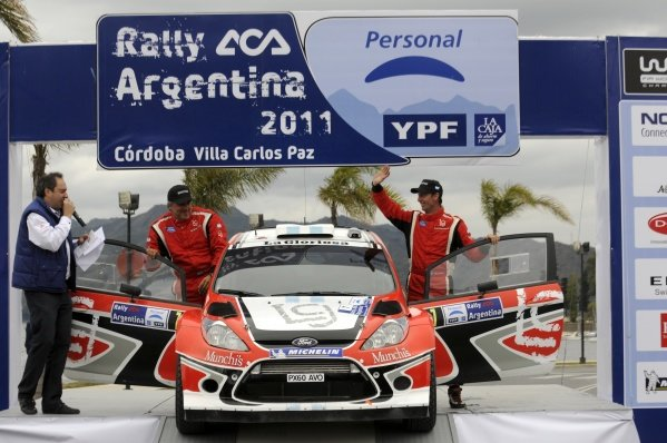 Federico Villagra (ARG), Ford Fiesta RS WRC, on the podium.